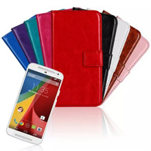 Luxury PU Leather Mobile Phone Case Flip Stand Design Wallet Style With Card Slot Cellphone Protection Cover Cases For Moto G2