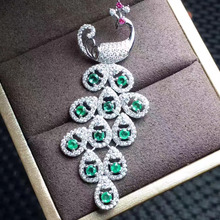natural green emerald gem pendant S925 silver Natural gemstone Pendant Necklace trendy Personality peacock lady party  jewelry