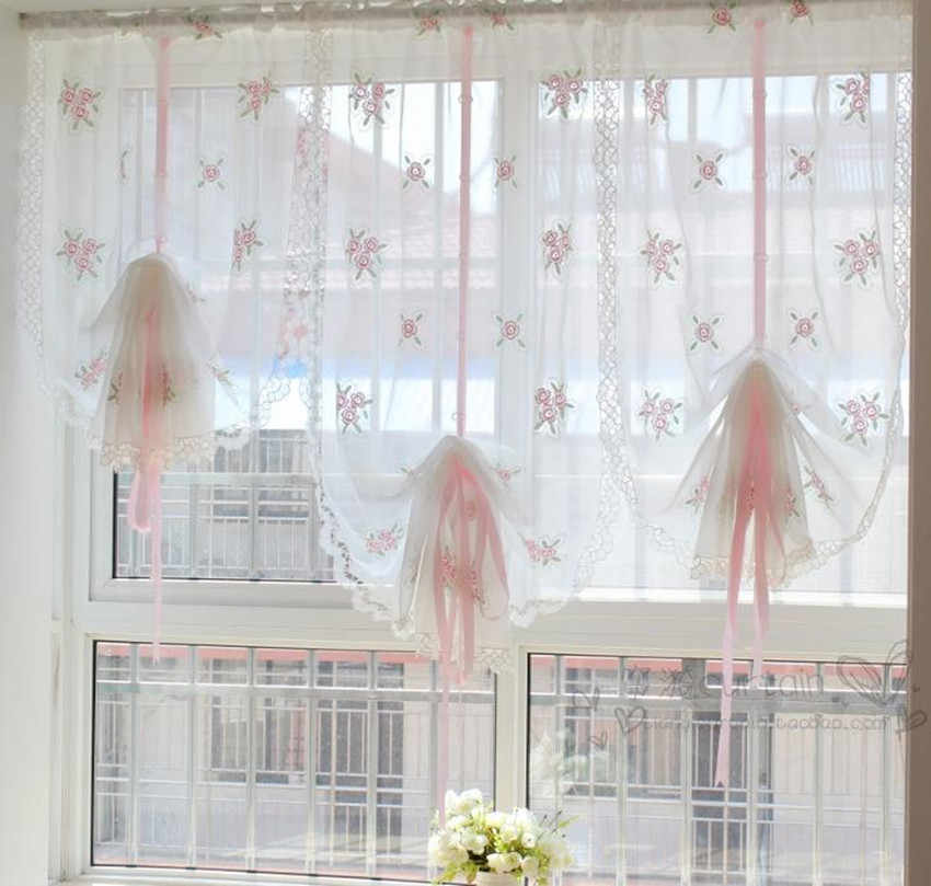 Pastoal Style Translucidus Multi-color Embroidered Floral Pink Ribbon Roman Curtain Adjustable Height Balloon Curtain 3 Fabric