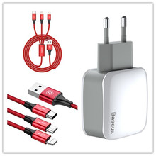 Baseus USB charger EU plug and Lighting+Micro+Type-C Charger Cable suit 2.4A double USB Universal Phone Charger Dual For iPhone(China)
