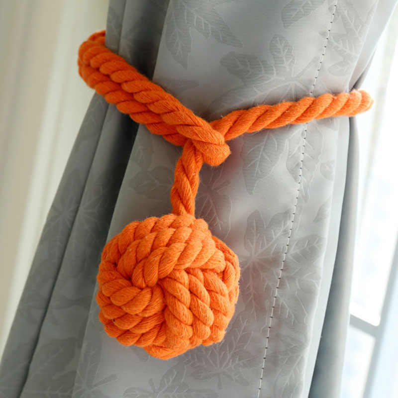 2 piece Window Tied Balls Hand-Knitted Cotton Cords Tie Ball Decoration Creative Curtain Accessories Hang Ball CP062C