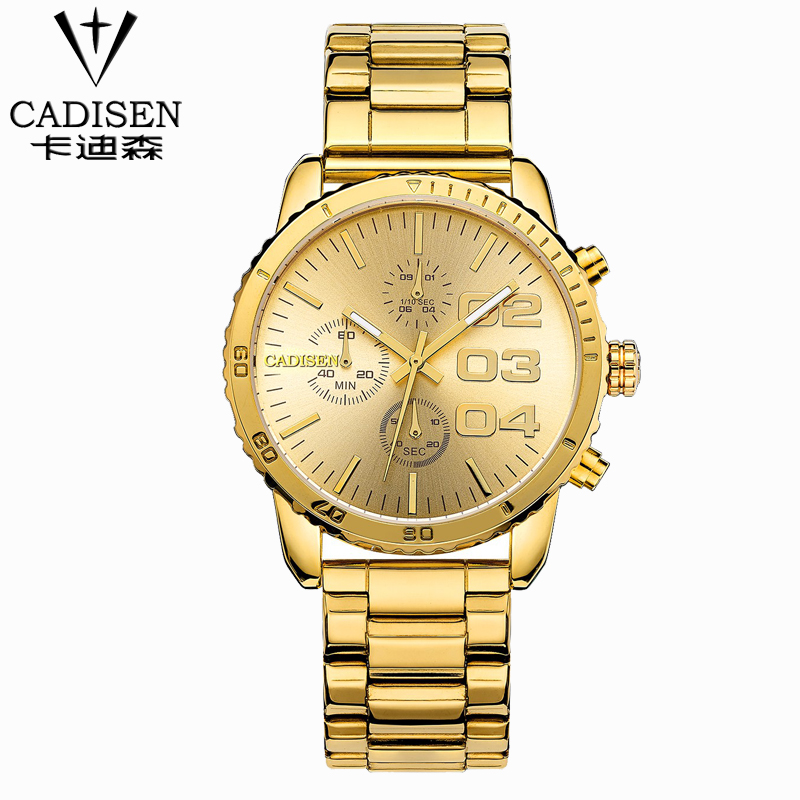 Cadisen Business Clock Men 6 Pointers Auto Date Quartz Watch Stainless Steel Band Water Resistant Relogio Masculino Gold Watch<br><br>Aliexpress