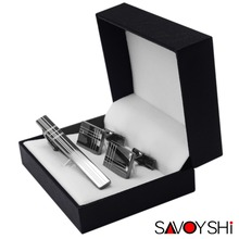 Fashion Men's Stainless Steel Exquisite Cufflinks and Tie Clips Sets French Cuff Dress Shirt Groom Wedding Business Jewelry Gift SAVOYSHI Brand Accessories(China)