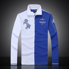 2017 summer new men's shop embroidery breathable 100% cotton polo lapel Men Air Force One Long sleeve polo shirt(China)