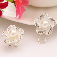 ZOSHI Lose money promotion Simulated Pearl Earrings wholesale Flower design silver plated ladies stud earrings jewelry 1pair/lot