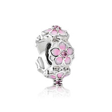 free shipping 2017 spring new pink Magnolia Bloom Spacer big hole bead charms Fits European Pandora Charm Bracelets A029(China)
