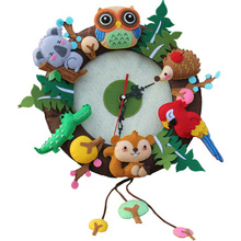RUBIHOME Wall Clock Free Cutting Felt DIY Material Package Forest Animal Design Handmade Cloth Clock For Living Room Decorartion(China)