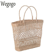 2017 New Arrive Women Straw Bag Handbags Handmade Braided Ladies Holiday Beach Bag Indian Thai Travel Woven Bohemian Tote Bag(China)