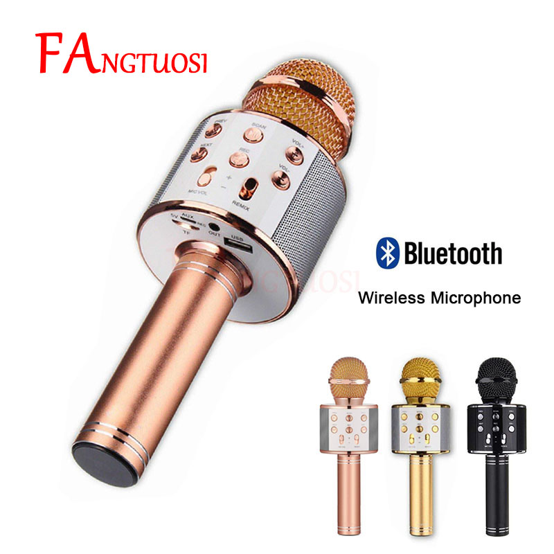 Bluetooth Wireless Microphone WS-858 Handheld Karaoke Mic USB KTV Player Bluetooth Speaker Record Music Microphones WS858(China)