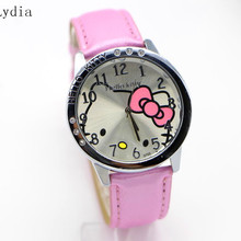 free Shipping Wholesale New leather wrist watch children girl cartoon fashion hello kitty quartz watch