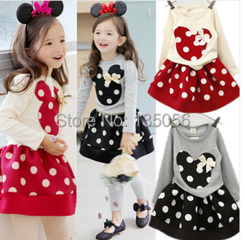 2015 Spring and autumnNew Children Girls 2PC Sets Skirt Suit Minnie Mouse baby sets dots skirt dots pants kids<br><br>Aliexpress