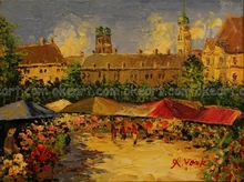 oil paintings on canvas free shipping Landscape Flower Market decoration traditional background modern abstract art