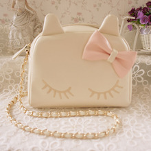 Spring And Summer New Collection Fresh Cute Lovely Cat Shoulder Bag With Ears And Bow Women Handle Bag Soft Sister Japanese Bag(China)