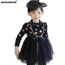 WEONEWORLD Fashion Baby Dress Long Sleeve Princess Girls Clothes Winter Children Dresses for Girl Star Print Clothing Vestidos