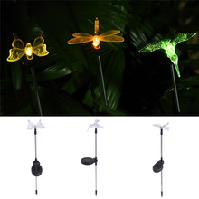 2017 Popular Solar Powered Path Light Butterfly Dragonfly Bird Lamp Waterproof Christmas Outdoor Garden solar Garden Solar Light