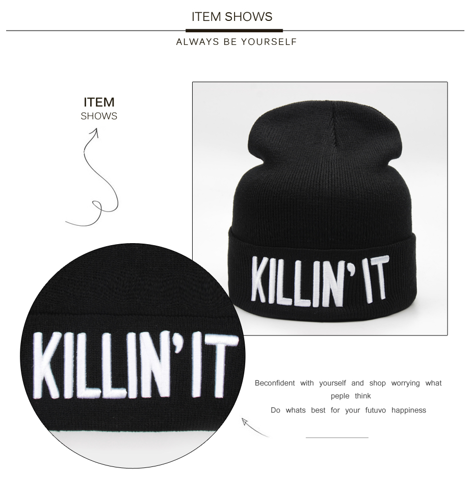 ADK Simple Design Black Hat For Women Beanies Embroidery Winter Fashion Beanie Female Soft And Warm Skullies Beanies (4)