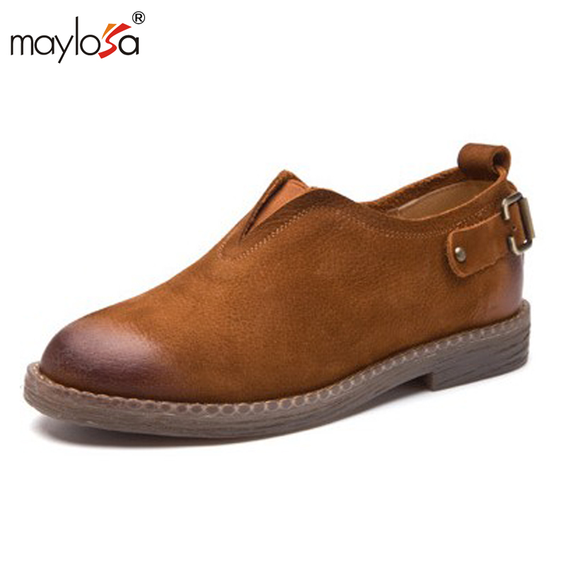 MAYLOSA Genuine leather woman size 9 designer vintage flat shoes round toe handmade brown black blue oxford shoes for women 2017<br>