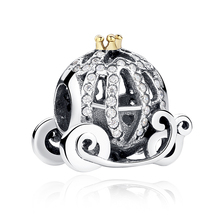 925 Sterling Silver Beads Cinderella Pumpkin Coach Charm with Cubic Zirconia Fits Women DIY Bracelets