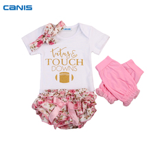 4pcs /set Newborn Infant Baby Girls Print Romper Bodysuit +Icing Shorts +Headband +Boots Socks Clothes Set(China)