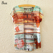 BLACK Brand Summer New Fashion Elements Leaning Tower Of Pisa T-shirt Patterned Batwing sleeved Women's Elephant Fashion TShirt