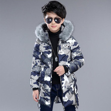 2017 Winter jackets for boys kids thick hooded fur collar down jacket children warm outerwear Winter Clothes park kit for boy(China)
