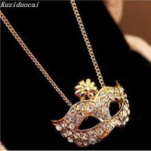 Kuziduocai New Hot !! Fashion Fine Jewelry Gold Color Rhinestone Bohemian Style Mask Pierced Necklaces & Pendants For Women N-1(China)