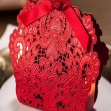Big Sale 100 pcs Red Laser Cut Wedding Favor Boxes Wedding Candy Box  Wedding Favors And Gifts