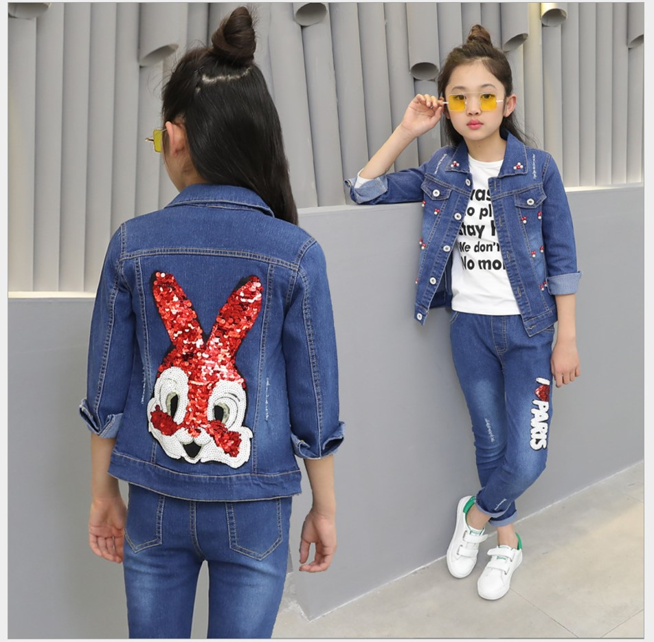 2017 Autumn Clothing Sets Girls Rabbit Coats For Girls Two Piece Suits Denim Jacket Teenage Girl Long Sleeve Set Floral Girls<br>