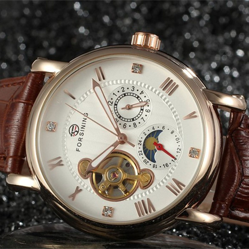 Forsining Luxury Brand Automatic Men Watch Mechanical Classic Wristwatches Fashion Casual Leather Strap Clock Relojes Hombres<br>