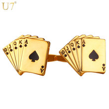 U7 Poker Cufflinks for Mens Shirt Accessories Gold Color High Quality Cuff Links Buttons Wedding Men Jewelry Groomsmen Gifts(China)