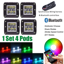 "4x 24W LED Work Light Bar 3""inch Cube Pods with RGB Halo Ring Changing Music Strobe Bluetooth Connection & Wiring Harness kits(China)"