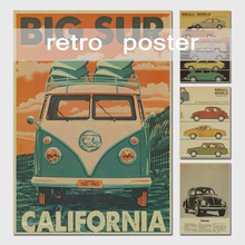 Limited Sale Wall Decals Vinilos Stickers Vintage Signs Vw Bus Retro Painting Car Plate Bar Antique Wall Decoration Posters