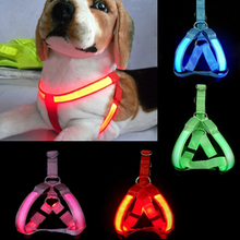 LED Flashing Light Dog Harness Safety Pet Dog Puppy Harness Collar Lead Leash  J2Y