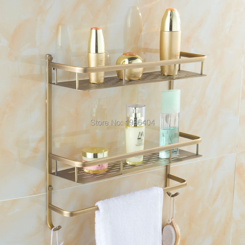 Bathroom Accessories Storage Holders Copper High Quality Retro Basket Shelf Corner Wall Mounted Dual Tier Basket Rack BS3216<br>
