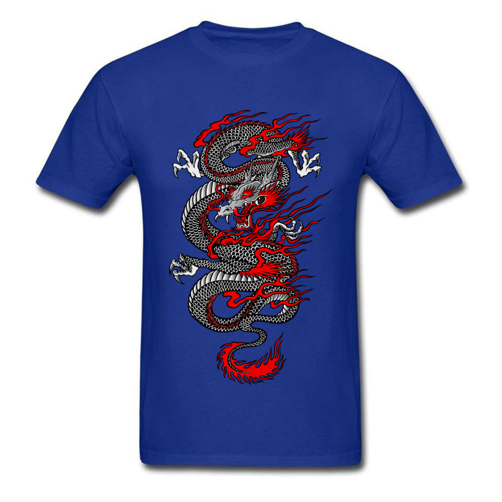 Asian Dragon 100% Cotton Tops T Shirt for Men Printed T-shirts Summer New Coming O-Neck T Shirt Short Sleeve Free Shipping Asian Dragon blue