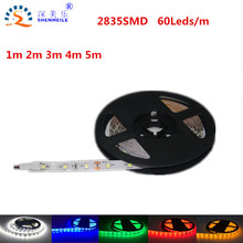 1m 5m 60les/m Ultra Bright LED Strip Light SMD2835 12V DC pull LED Reel Light 2835 Diode Tape LED Strip Light Ribbon Flexible