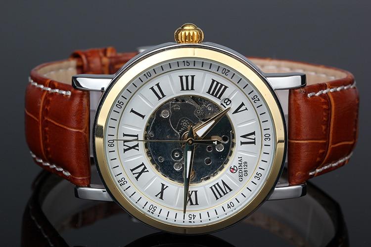 2017 NEWEST GEDIMAI GOLD mechanical watch Top Brand Luxury automatic watch men Leather skeleton reloj hombre<br>