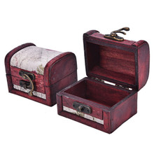 Chic Vintage Metal Lock Mini Stamp Jewelry Treasure Chest Case Wooden Jewelry Box