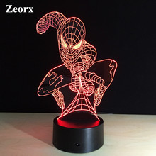 ZEORX Spider man Changeable color Cartoon Hero Luces Navidad Iron Man Led Night Lights 3D LED Desk Lamp Bedside Lamps