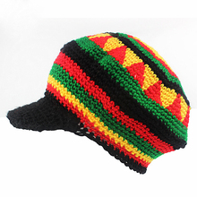 Forija Jamaica red, yellow, black and green wave pattern knitted cap Novelty striped head cap autumn winter thick Wrap hat(China)