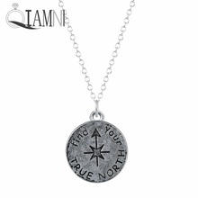 QIAMNI Find Your True North Compass Chain Pendant Necklace for Women Girls Minimalist Jewelry Christmas Gift Accessories Gift