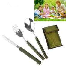 Multi-function Stainless Steel Army Green Folding Cutlery Set Portable Cutlery Set with Pouch Cooking Survival Camping