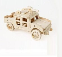 LeadingStar Free shipping ! 3-d Wooden Puzzle- Children and Adult's Educational Building Puzzle Toy Hummer Jeep Model