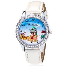 Happy Christmas Girls Gift Quartz Watches Leather Strap Wristwatches Diamonds Design Dial Watches Women Dress Clocks for Ladies