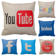 HOT Sell Home Decorative throw pillows logo for Youtube facebook twitter google pattern cushion cover funda cojines pillowcase(China)