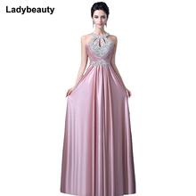 Pluse Size Red Beading Pleat Silk Long Evening Dresses 2017 Backless Halter Formal Dress Silm Evening Party Dresses(China)
