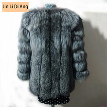 Jin Li Di Ang Women Real Natural Silver Fluffy Fox Fur Slim Vest Lady Genuine Leather Jacket Coat or Vest with Invisible Pocket(China)