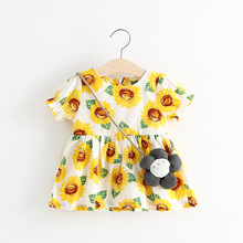2017 Summer Baby Toddlers Kids Girl Solid Dress Sunflower Pattern Short Sleeve Bag Ruffles Casual Dresses 1-3 Years old kids