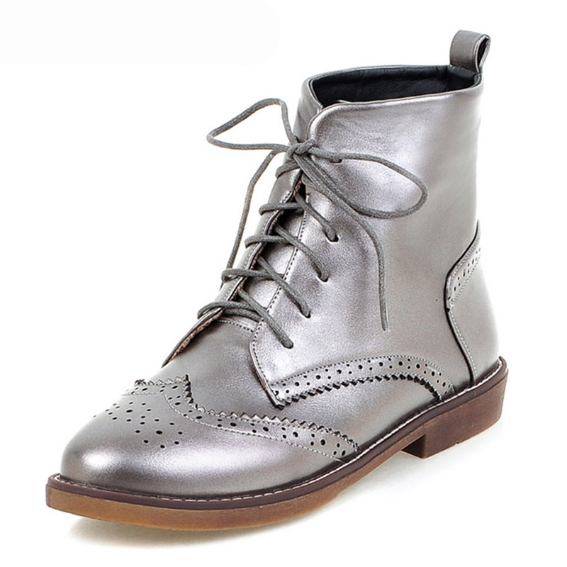 Platform Women Martin Boots Vintage Ankle Boots Silver Color Shoes Woman Creepers Bullock Flats 2016 Casual Women Shoes<br><br>Aliexpress