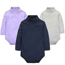 2017 New Baby Rompers baby boys girls clothes turn-down collar baby clothes Jumpsuit Long Sleeve Infant Product Solid color